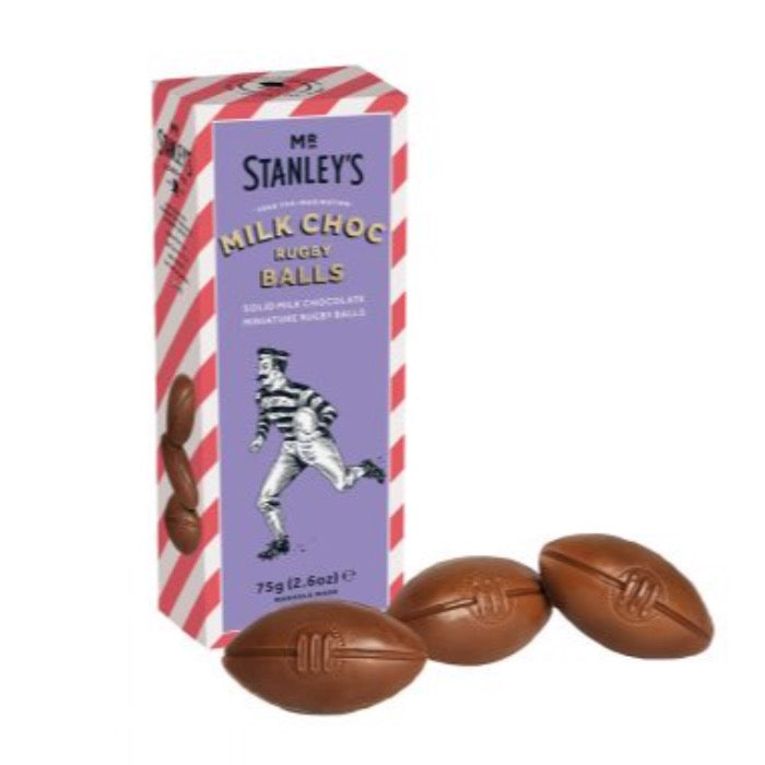 MR STANLEYS Milk chocolate Rugby Balls 75g