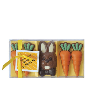 GWYNEDD CONFECTIONERS Bunny & Carrots Happy Easter Novelty Chocolates Gift Box 95g