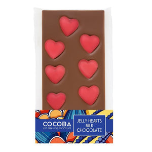 COCOBA Jelly Hearts Milk Chocolate Bar 100g