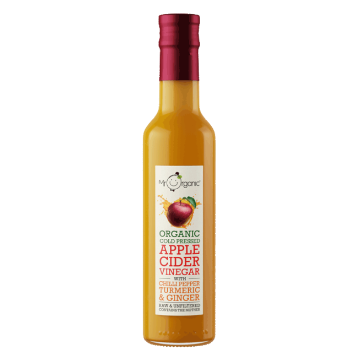 MR ORGANIC Cold Pressed Apple Cider Vinegar with Chilli Pepper, Turmeric and Ginger 250ml