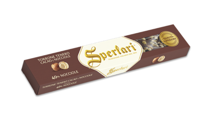SPERLARI Superior Quality Soft Nougat with Cocoa and Hazelnuts 100g