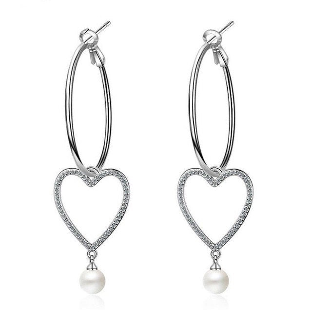 Sterling Silver Heart Circle Pearl Tassel Earrings