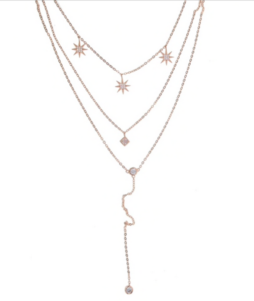 Rose Gold Plated Sterling Silver Star Charm Maxi Necklace with Cubic Zirconia
