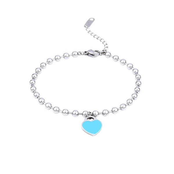 Sterling Silver Blue Heart Bracelet