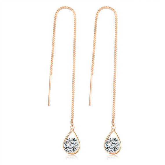 Crystal Water Drop Rose Gold Earrings