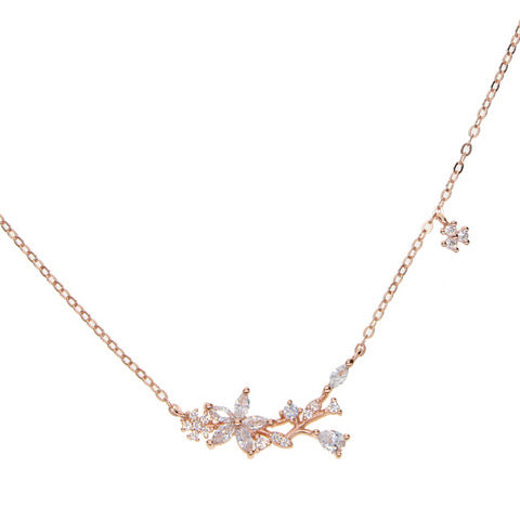 Rose Gold Plated Sterling Silver Flower Necklace with Cubic Zirconia