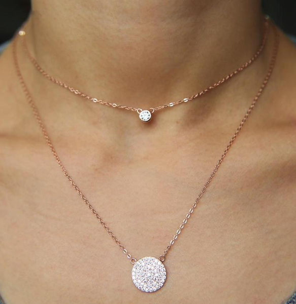 Sterling Silver Rose Gold Plated Cubic Zirconia Disco Charm Double Layer Necklace