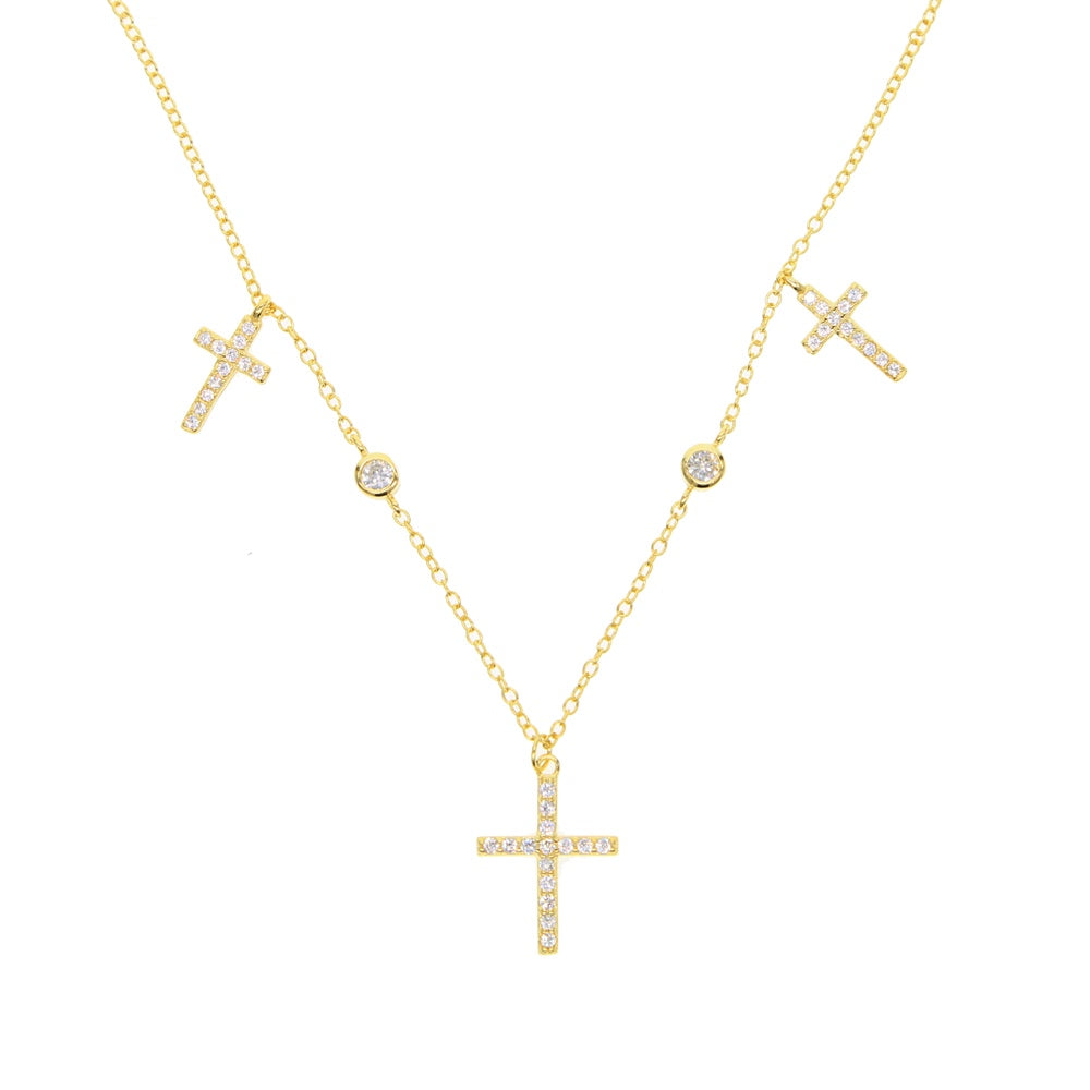 Sterling Silver Gold Plated Cross Choker Necklace