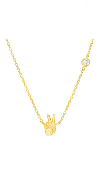 Peace Sign Hand Necklace
