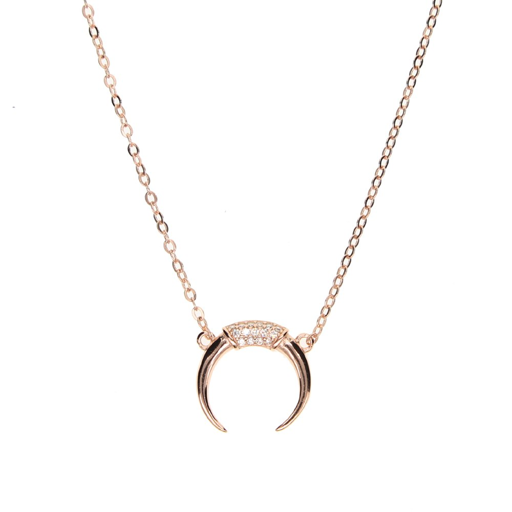 Sterling Silver Rose Gold Plated Moon Dainty Necklace