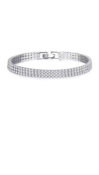 Three Rows Tennis  Bracelet