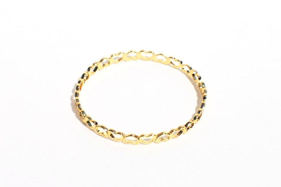 Gold Heart Bangle Bracelet