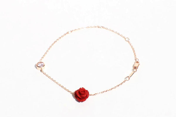 Sterling Silver Rose Gold Plated Flower Bracelet With Cubic Zirconia