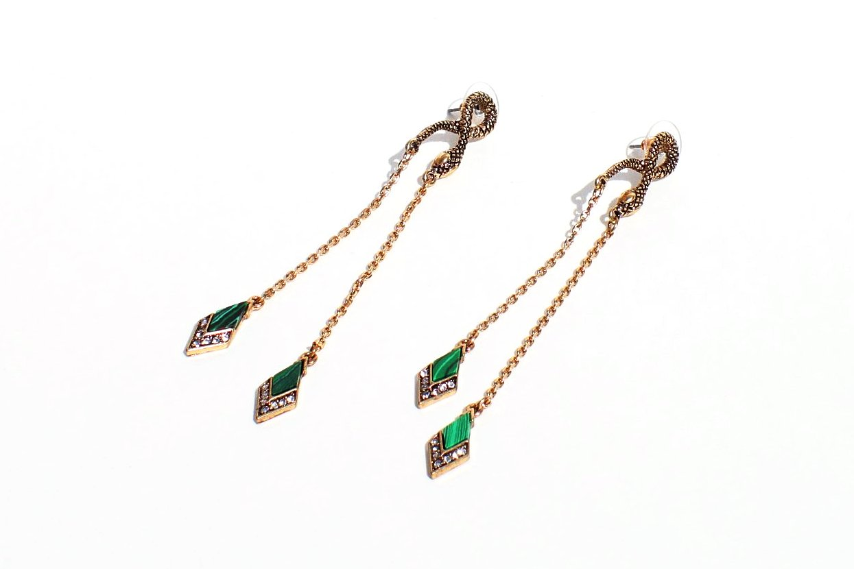 Gold Little Snake Earrings With Crystals