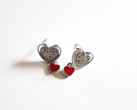 Sterling Silver Red Heart Earrings With Crystals