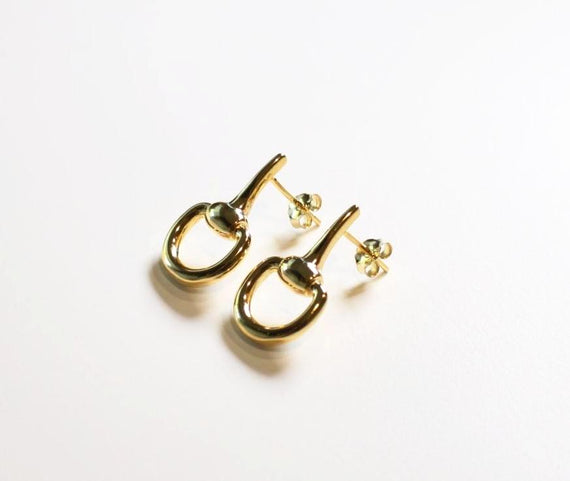 Sterling Silver Gold Plated Horse Bit Studs