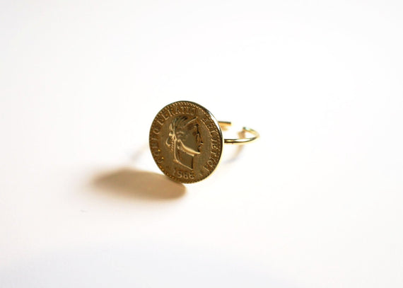 Sterling Silver Gold Plated Coin  Ring