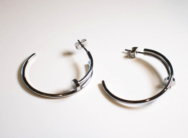 Silver Big Nail Earrings