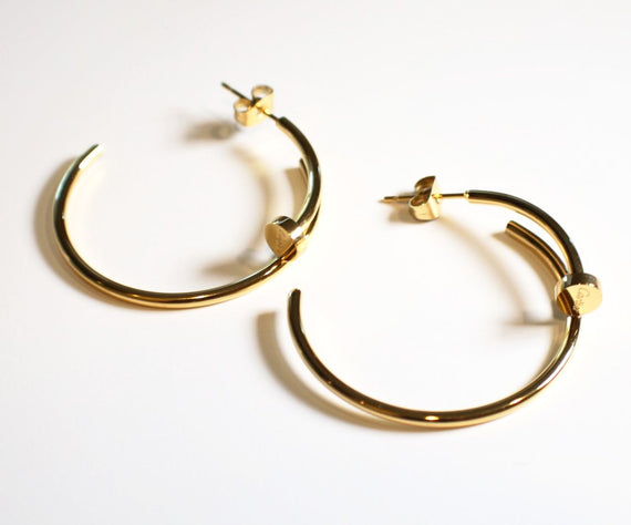 Gold Big Nail Earrings