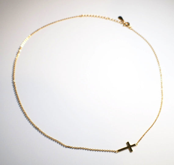 Sterling Silver Gold Plated Thin Chain Cross Necklace