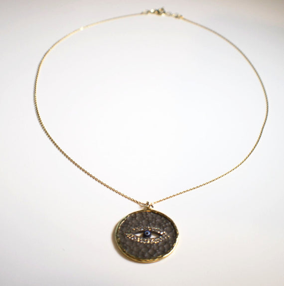 Sterling Silver Gold Plated Evil Eye Necklace