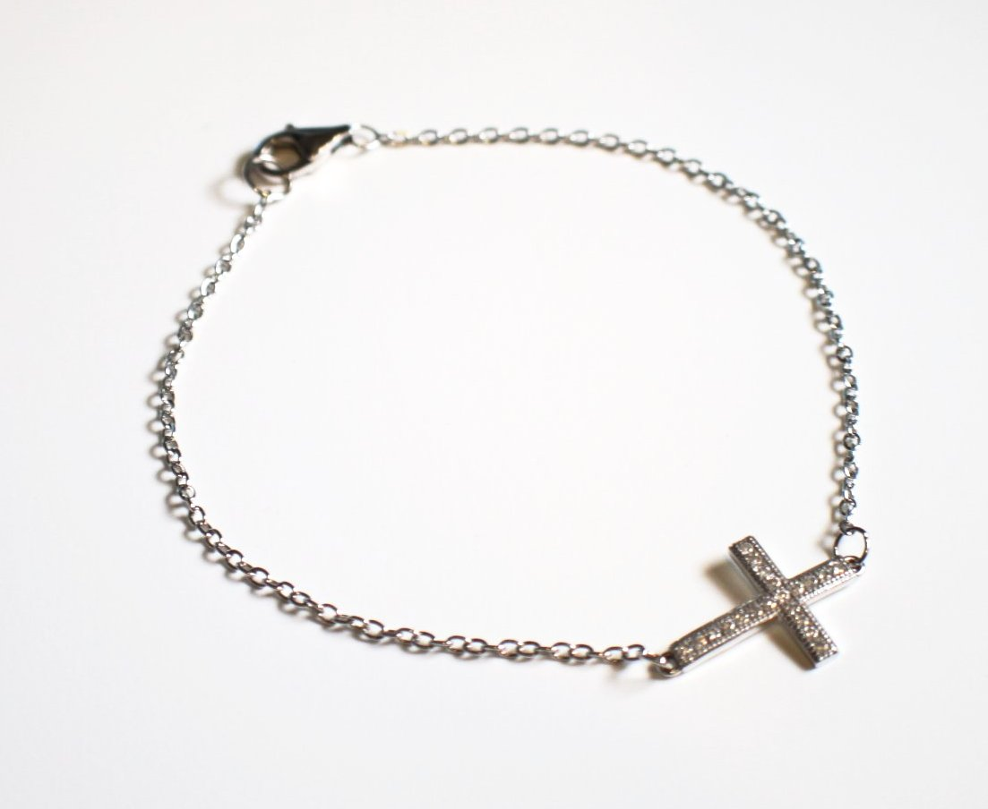 Sterling Silver Cross Bracelet With Crystals