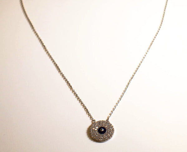Sterling Silver Evil Eye Necklace With Crystals
