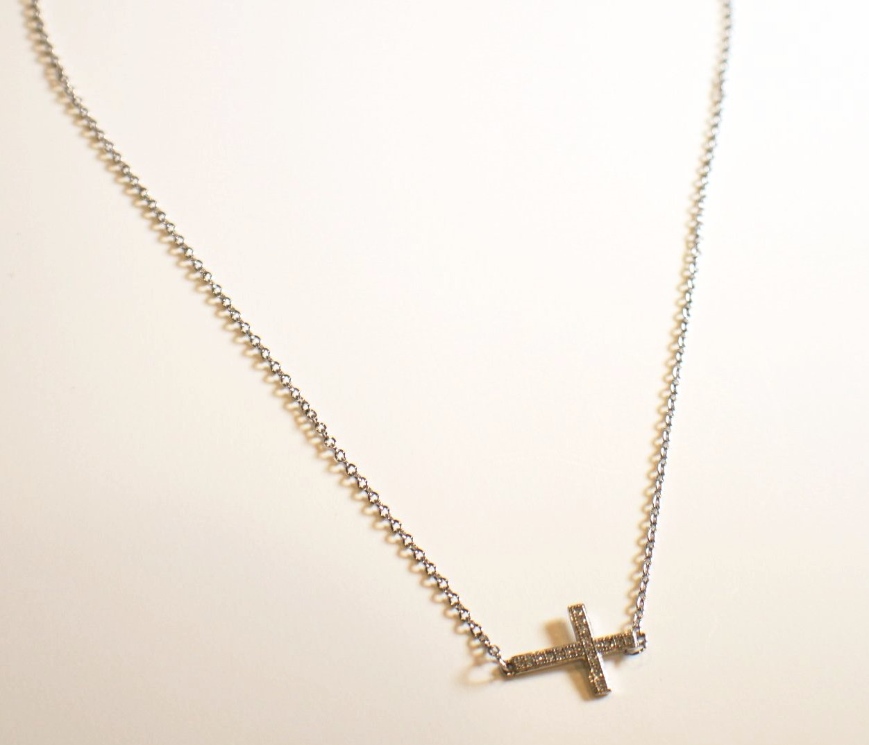 Sterling Silver Cross With Crystals