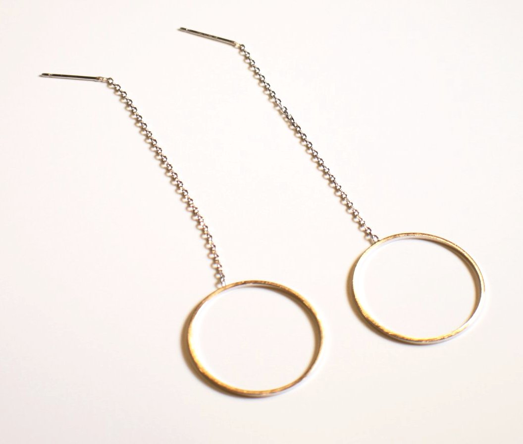 Sterling Silver Gold Plated Round Long Chain Earrings