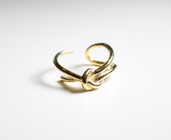 Sterling Silver Gold Plated  Hipster Double Line Knot Ring