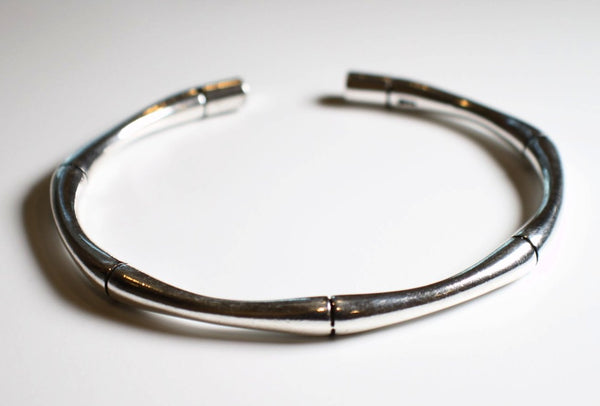 Sterling Silver Bamboo Cuff Bangle Bracelet