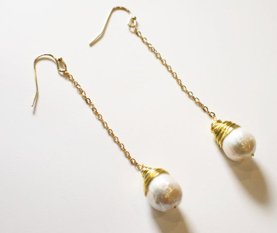 Freshwater Pearl Beads Wire Wrapped Tramline Dangle Earrings