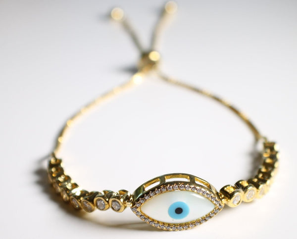 Sterling Silver Rose Gold Plated Evil Eye Bracelet