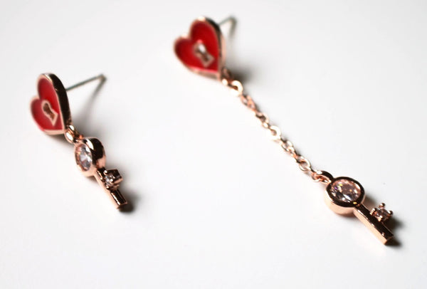 Sterling Silver Rose Gold Plated Asymmetry Red Heart Earrings