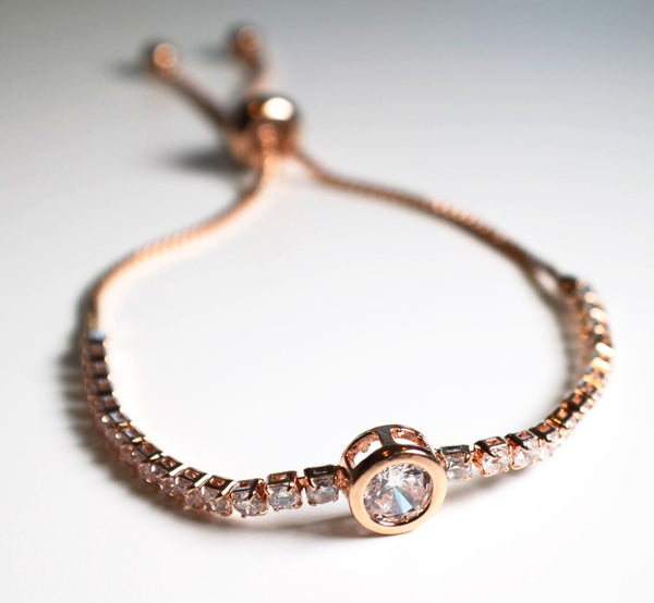 Round Tennis Bracelet Rose Gold With Cubic Zirconia