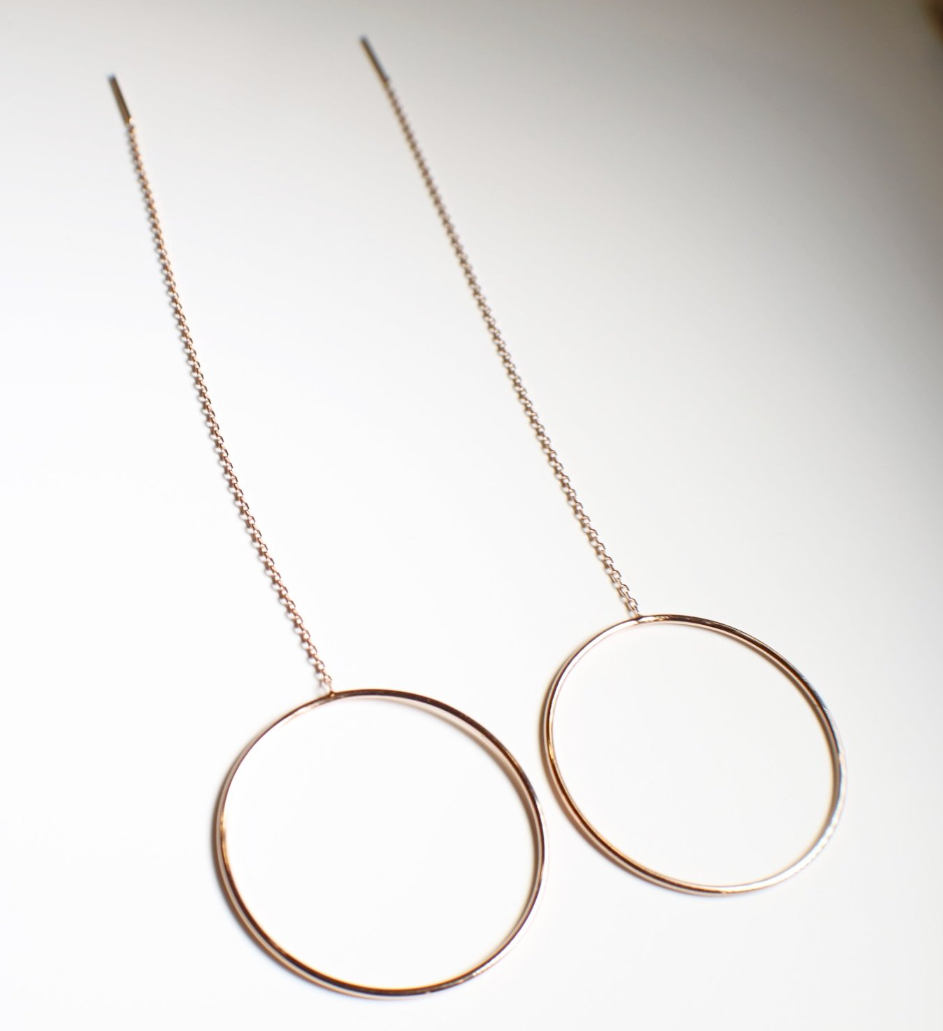Sterling Silver Rose Gold Plated Round Long Chain Earrings