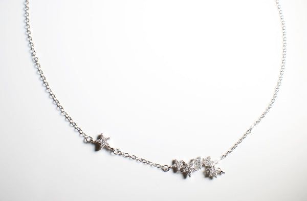 Sterling Silver Crystal Flower Necklace