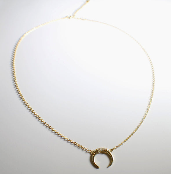 Sterling Silver Gold Plated Moon Dainty Necklace With Crystals