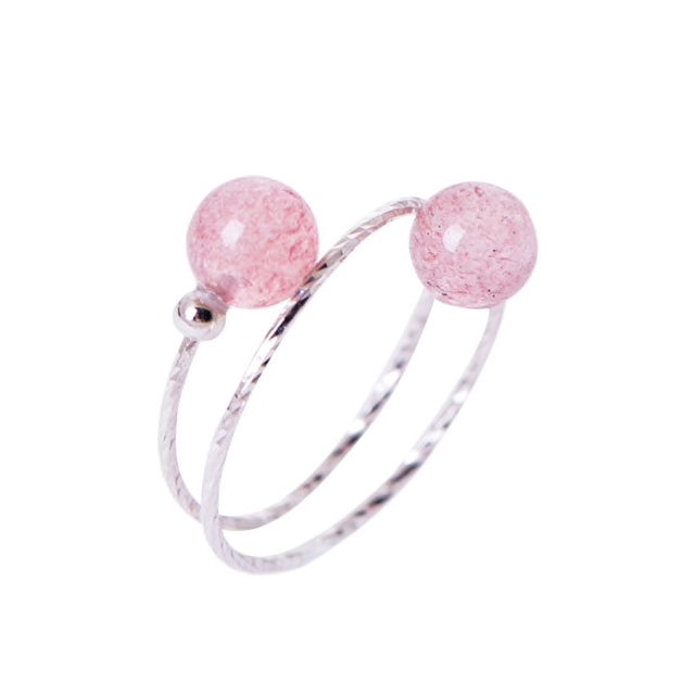 Sterling Silver Strawberry Quarts Adjustable Ring