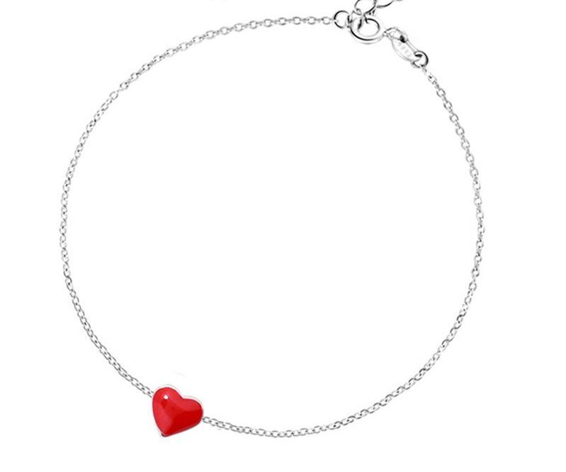 Sterling Silver Red Heart Bracelet