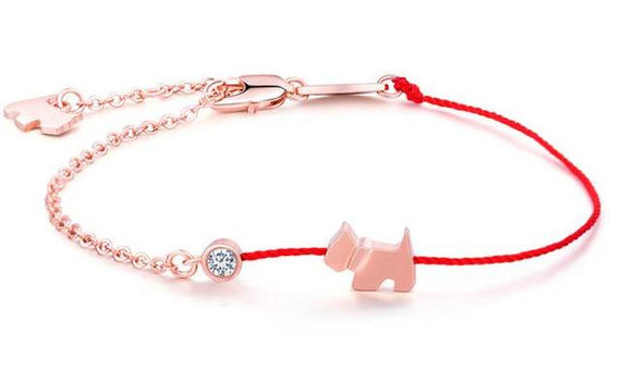 Rose Gold Dog Charm Bracelet