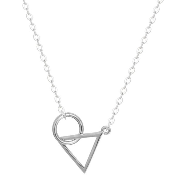 Sterling Silver Triangle Round Necklace
