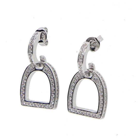 Sterling Silver Snaffle Bit Horse Dangle Earrings With Crystals