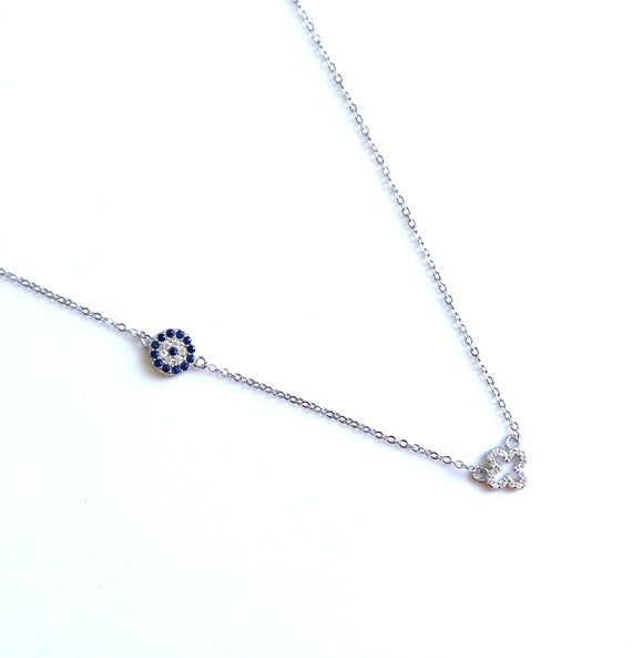 Sterling Silver Dainty Chain Evil Eye Four Clover Link Chain Necklace