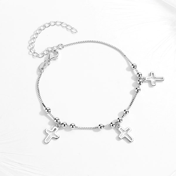 Cross Pendants With Beads Sterling Silver Adjustable Bracelet
