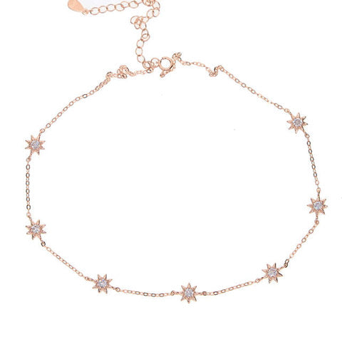 Women's Rose Gold Plated Sterling Silver Necklace with Stars and Cubic Zirconia