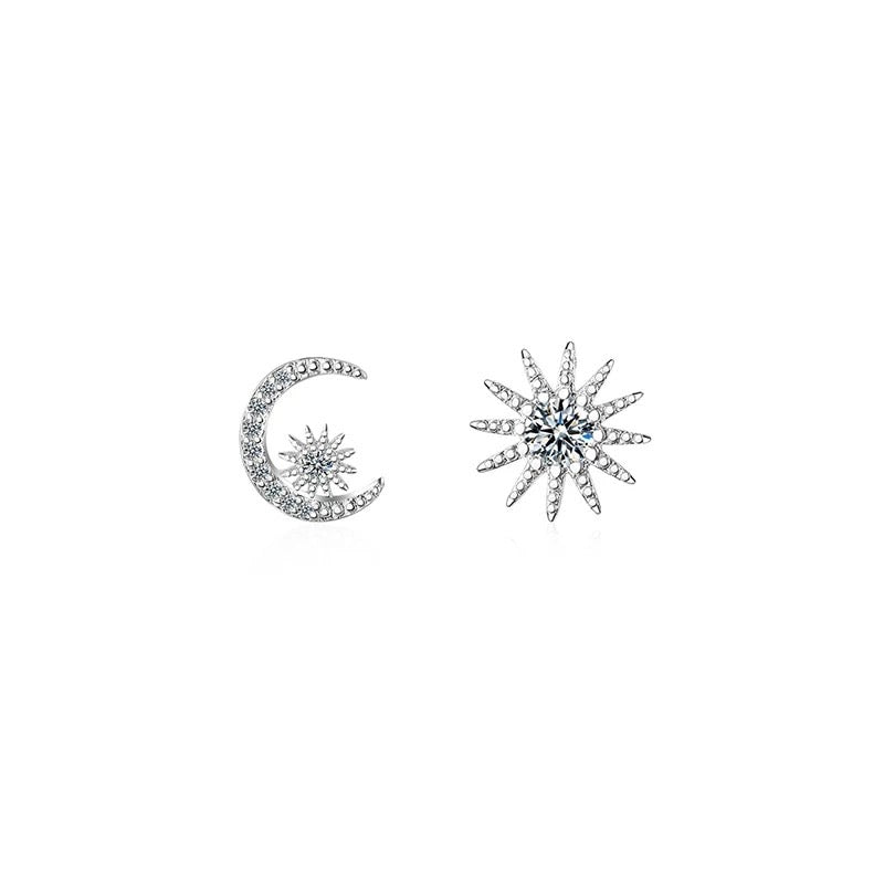 Sterling Silver Cubic Zirconia Moon Sun Earrings