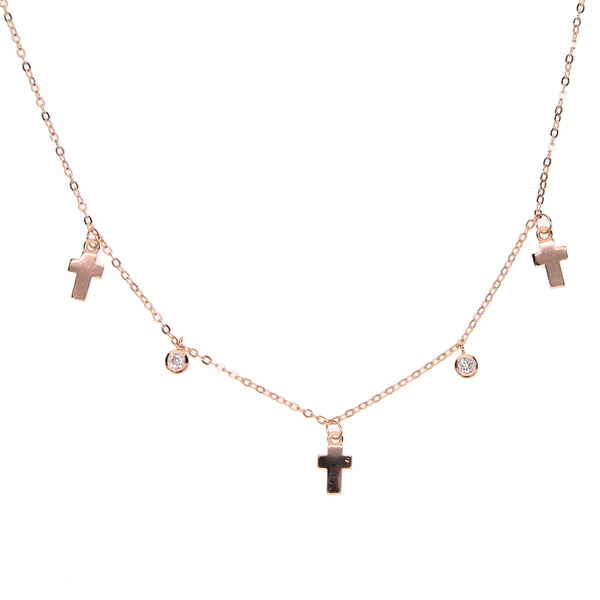 Sterling Silver Rose Gold Plated Drop Cubic Zirconia Cross Charm Chocker Necklace