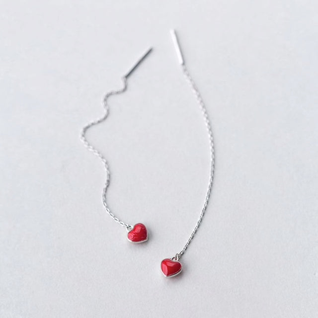 Sterling Silver Red Heart Earrings