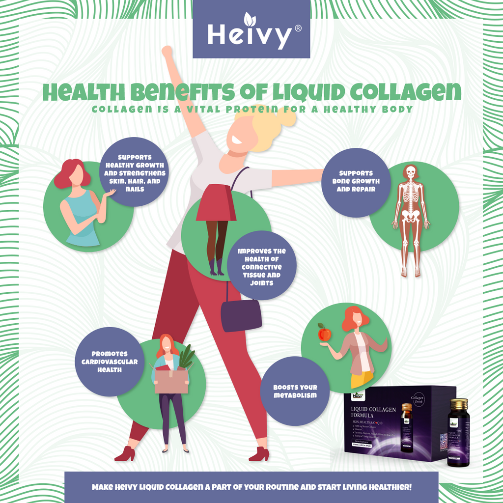 health benefits of liquid collagen infographic